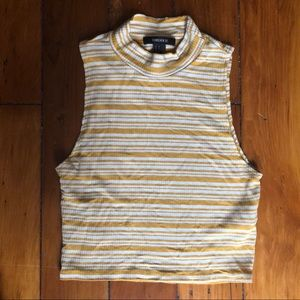 Yellow & White Stripe Mock Sleeveless F21 Crop